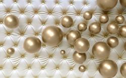 Fototapet 3D, Sfere aurii pe un fundal deschis