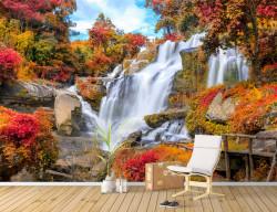 Fototapet, Cascadă stâncoasă într-o pădure multicoloră