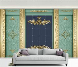 Fototapet, Detalii aurii pe un perete turcoaz