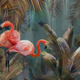 Fototapet, Fenicoturi roz pe un fundal albastru-verde