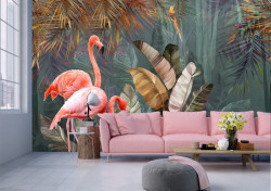 Fototapet, Flamingo roz pe fundalul junglei