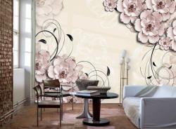 Fototapet, Flori abstracte roz pe un fundal bej