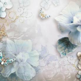 Fototapet, Flori albastre și fluturi cu aripi din pietre prețioase