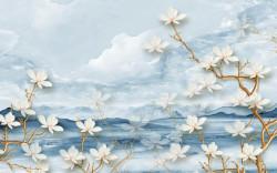 Fototapet, Flori albe pe fundal albastru