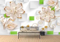 Fototapet, Flori albe și ornamente aurii pe un fundal abstract