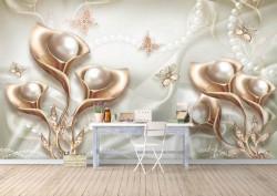 Fototapet, Flori aurii și perle pe un fundal de mătase
