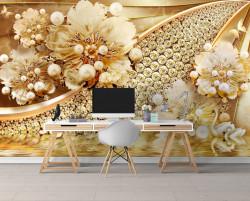 Fototapet, Flori de aur cu pietre pe un fundal auriu
