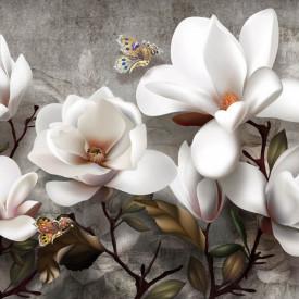 Fototapet, Flori delicate pe fundal gri