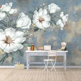 Fototapet, Flori minunate pe un fundal albastru