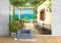 Fototapet Fresco, Fototapete cu o vedere la ocean de la balcon