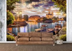 Fototapet Fresco, Fototapete cu vedere la orașul de seară lângă lac la apusul soarelui