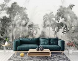 Fototapet, Jungla de palmieri în ceață