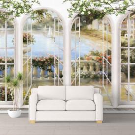 Fototapet, O fereastră cu Priveliște la un lac