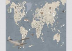 Fototapet, O hartă albastră pentru copii