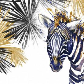 Fototapet, O zebră abstractă pe fundal alb