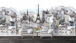 Fototapet, Parisul pictat în culori reci