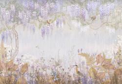 Fototapet, Păsări pe ramuri de liliac