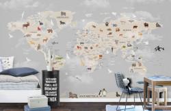 Fototapet Pentru Copii, Harta lumii cu animale și pești