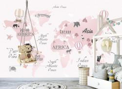 Fototapet Pentru Copii, Harta roz cu animale și plante