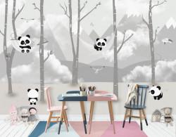 Fototapet Pentru Copii, Panda pe fundalul munților