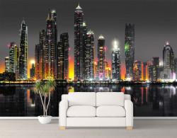 Fototapet, Silueta orașului nocturn- Dubai