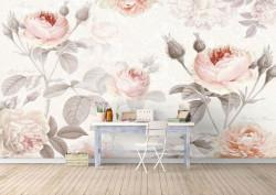 Fototapet, Trandafiri bej pe fundal alb