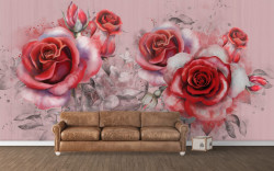 Fototapet, Trandafiri roșii pe un fundal roz