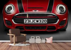 Fototapet Transport, Vehicul roșu cu dungi negre pe bara de protecție.