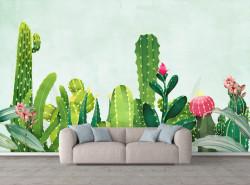 Fototapet, Un cactus verde pe un fundal albastru