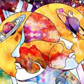 Fototapet, Un desen colorat de două persoane