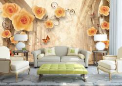 Fototapete 3D, Trandafiri galbeni și fluturi pe un fundal 3D