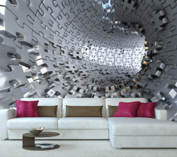 Fototapete 3D, Tunel gri 3D