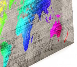 Multicanvas, Harta colorată a lumii pe fond gri