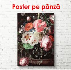 Poster, Buchet de flori roz pe fundal negru