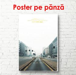 Poster, Drum într-un oraș înnorat