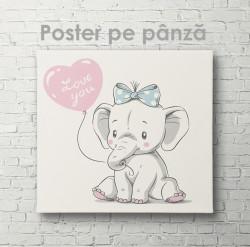 Poster, Elefant drăguț cu un balon