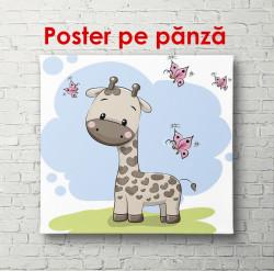 Poster, Girafa cu fluturi pe un fundal de primăvară