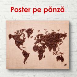 Poster, Harta lumii din boabe de cafea