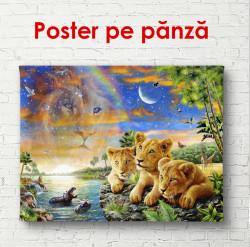 Poster, Pui de leu în lumea animalelor