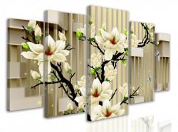 Tablou modular, 3D ilustrație de flori albe