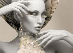 Tablou modular, Fată din porțelan cu decor auriu
