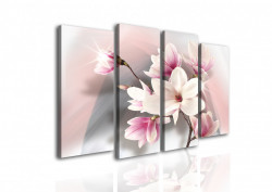 Tablou modular, Floare delicată pe un fundal roz