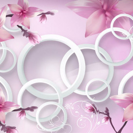 Tablou modular, Flori abstracte de culoare roz.