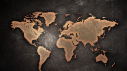 Tablou modular, Harta lumii în stil grunge