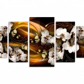 Tablou modular, Orhidee albe pe un fundal abstract maro