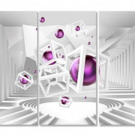 Tablou modular, Sferă de culoare lila pe fundal 3D.