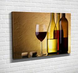 Tablouri Canvas, Un pahar și o sticlă de vin pe un fond galben