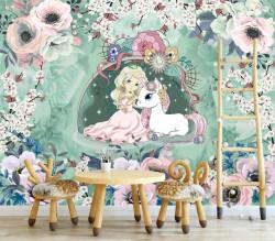 Tapet foto pentru copii, Fată și unicorn