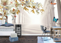 Fototapet 3D, Fantezie cu flori albe și coloane grecești