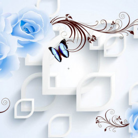 Fototapet 3D, Flori albastre p un fundal 3D